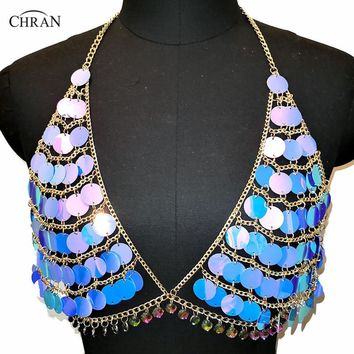 Iridescent Blue Sequin Body Chain Crop Top