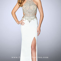 Beaded Sheer Bodice Long Prom Dress