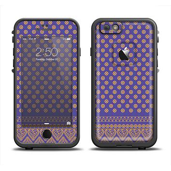 The Tall Purple & Orange Vintage Pattern Apple iPhone 6 LifeProof Fre Case Skin Set