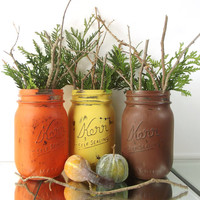 Fall Centerpieces, Autumn Decor, Mason Jar Decor, Fall Table Decor, Distressed Home Decor, Thanksgiving Decor, Cute Home Decor