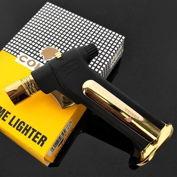 COHIBA Cigarette Cigar Lighter Luxury Gas Torch Jet Flame Lighter with Lighters Holder - Black & Gold & Silver