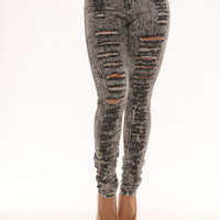 High Waisted Distressed - Grey