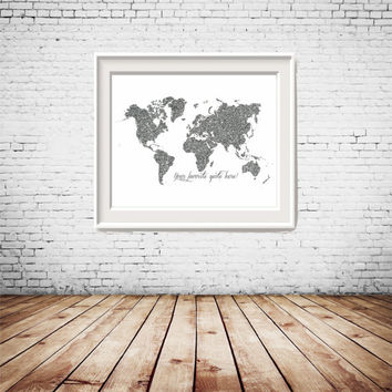 Custom Quote, Custom Size Printable Silver Glitter World Map, gallery wall decor, wall art, home decoration