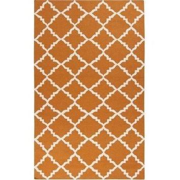 Pumpkin Orange Lattice Dhurrie Rug