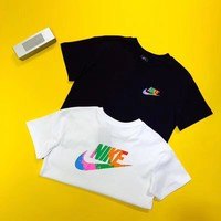 """Nike"" Unisex Vintage Casual Multicolor Graffiti Letter Logo Print Couple Short Sleeve T-shirt Top Tee"