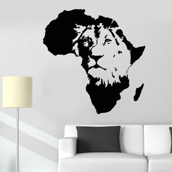 Vinyl Wall Decal Lion King Of The Jungle Africa African Animal Stickers Unique Gift (1253ig)