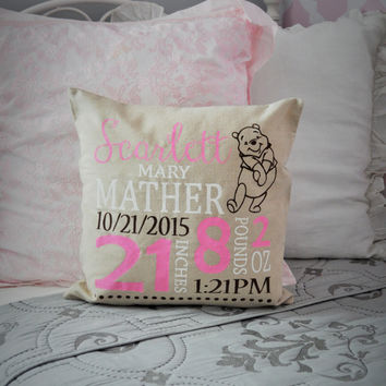 Winnie the Pooh Themed Personalized birth pillow cover