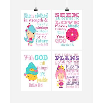 Shopkins Christian Nursery Decor Set of 4 Prints, Jessicake, Dlish Donut, Cupcake Queen and Bubbleisha with Bible Verses