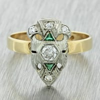 1930s Antique Art Deco 14k Solid Yellow White Gold .30ctw Diamond Emerald Ring