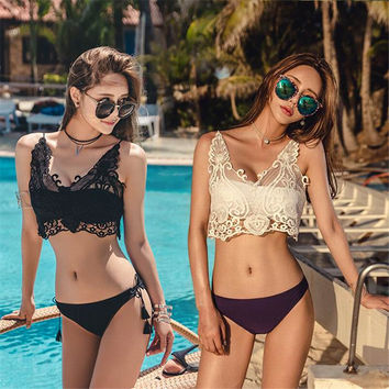 New Style Sexy Beach Black White Lace Bikini Swimsuit Push Up Brazilian Bandeau Top