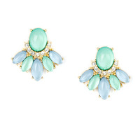 Oval Mint Opal and Light Blue Crystal Fan Stud Earrings