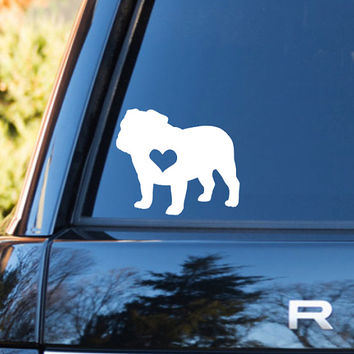 English Bulldog Heart Decal | Bulldog Mom Decal | Bulldog Dog Mom Decal | Dog Dad Decal | Dog Family Decal | Love Sticker | Love Decal | 201