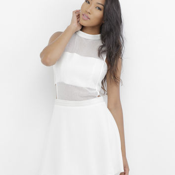 SHEER MADNESS FLARE DRESS - WHITE