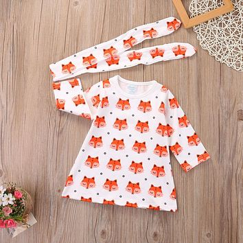 Girls  Fox Dress with Headband