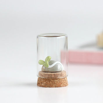 Handmade Cute Ceramic Bean Sprout Mini Glass Bottle Decoration. Clay plant in a bottle. Fresh Natural Decoration for Home and Office.