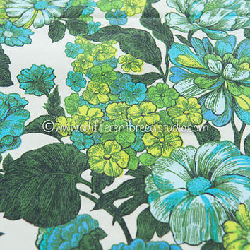 BIG BLOOMS  - Vintage Fabric 60s 70s Curtain Panel Tropical Blues Greens