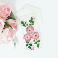 Flower Stone - Pressed flower phone case iPhone 6s, 6sm 6s plus clear case, Samsung galaxy S7 S7 edge, S6, S5 clear case, S6edge flower case