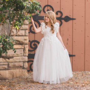 Ariana White Petal Sleeve Satin & Lace Dress Gown