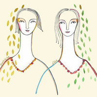 Art Print Personalized portrait Sisters Best by LouisestArt