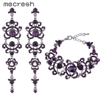 Mecresh Butterfly Shape Crystal Wedding Bridal Jewelry Sets Unique Style Purple Long Earrings Bracelets Sets EH168+SL029