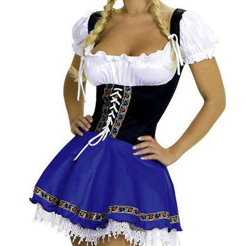 Fancy Costume For Girls  Peasant Blouse Top and Blue Serving Beer Wench Dress Costume Free shipping