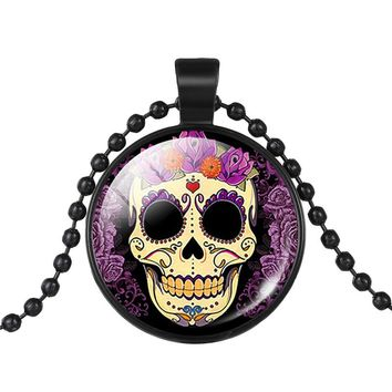 Mexican Sugar Skull Pendant Day Of The Dead Necklace Beads Chain Glass Jewelry Necklace Classic