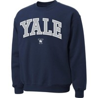 Yale Bulldogs Navy Blue Twill Arch Crewneck Sweatshirt