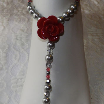 Red Swarovski Barefoot Sandals Gray Pearl Foot Jewelry Bridal Jewelry Wedding Jewelry Silver Crysral barefoot Sandles