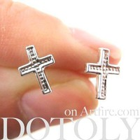 Classic Cross Shaped Plastic Post Stud Earrings | ALLERGY FREE