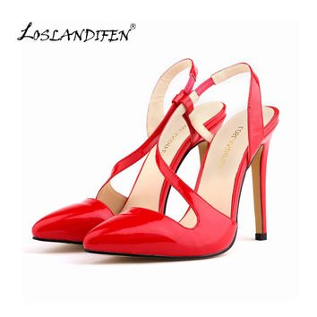 New Slingbacks Women Pumps Pointed Toe Stiletto High Heels Shoes Leather Sexy Summer Autumn Ladies Red Wedding Shoes 302-15PA