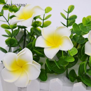 10Pcs Plumeria Hawaiian Foam Frangipani 5cm Artificial Flowers Headress Flower Baby Shower Wedding Party Decoration Handcrafts