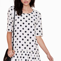 Black and White Polka Three-Quarter Sleeve Mini Dress with Pleated Edge