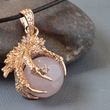 Gold Plated Dragon Claw Rose Quartz Pink Gemstone Sphere Bead Pendant on Black Leather Cord