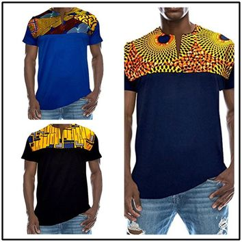 2018 new short sleeve printed round neck men's African style t - shirt V-Neck Blue Drark Blue Black