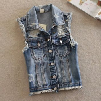 Women's Frayed Cardigan Denim Vest Outerwear