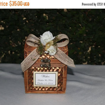 ON SALE Rustic Wedding Wishes Trunk Box Burlap Vintage Wedding Decor