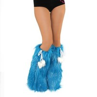 iHeartRaves Fluffy Leg Warmers - Rave GoGo Fluffies (Sparkle Turquoise)