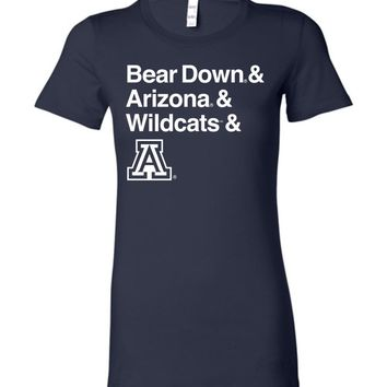 Official NCAA Venley University of Arizona Wildcats U of A Wilber Wildcat BEAR DOWN! Ladies Favorite Tee - 34ua