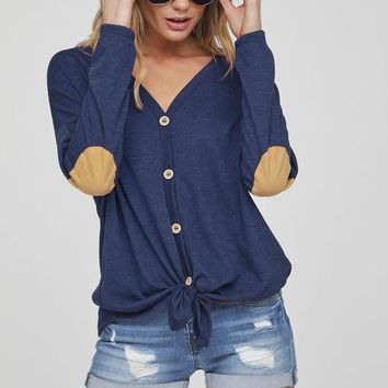 Button Up Knit Top with Elbow Patch - Navy