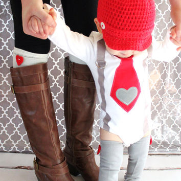 Valentine's Boy Tie and Suspenders Bodysuit with Heart Applique & Red Heart Leg Warmers. Red Tie Gray Corduroy Heart Suspenders 1st Birthday