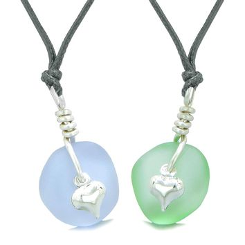 Twisted Twincies Heart Small Sea Glass Lucky Charm Love Couples BFF Set Mint Green Pastel Purple Necklaces