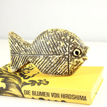 Mid Century Modernist Fat Lava Figurine Fish - 1950s West German Pottery
