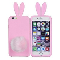 iPhone 6 Case,Cute Lovely Long Ear Design Rabbit with Furry Tail Silicone Bunny Case Cover for Apple iPhone 6 6G 4.7 inch (Pink)