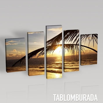 CANVAS ART  - Sunset Between Palm Leafs Landscape - Best Quality Print for Great Home Decorations - Palm and Beach
