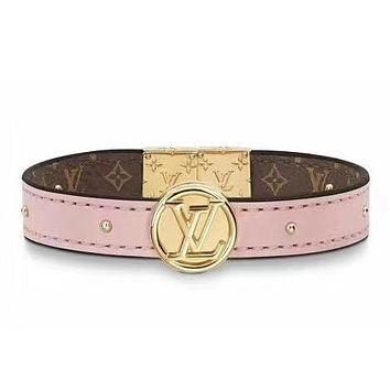 LV Louis Vuitton Fashion New Monogram Print Leather Women Men Bracelet Accessories