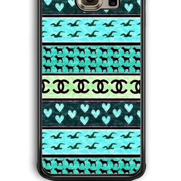 Samsung Galaxy S6 Edge Case - Hard (PC) Cover with red hollister seagulls chanel sign hearts stripes Plastic Case Design