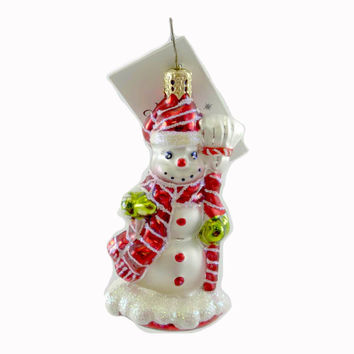 Christopher Radko CHERRY ICE GEM Blown Glass Ornament Snowman Christmas
