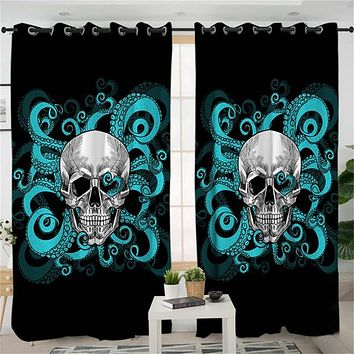 Octopus and Skull Curtain for Living Room Gothic Blackout Curtains