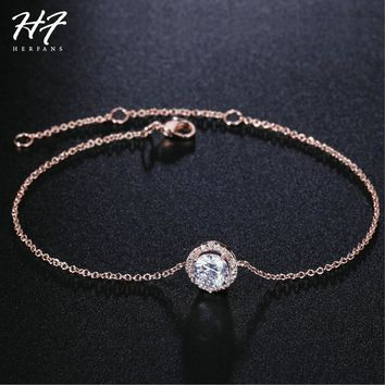 Top Quality Round Micro Mosaic CZ Crystal Rose Gold Color Bracelet Fashion Austrian Crystal Jewelry For Women Wholesale H165