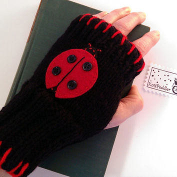 Adorable Fingerless Ladybug Gloves - Adult Size - Red and Black -Felt Ladybug with Buttons - Bright Red Blanket Stitch